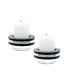 Tuxedo Crystal Candleholder - Set Of2