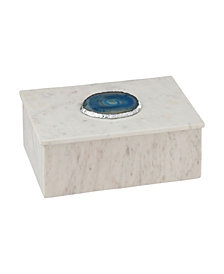 Antilles Box In White Marble And Blue Agate