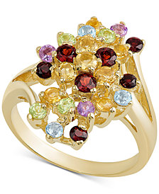 Multi-Gemstone Cluster Ring (1/2 ct. t.w.) in 18k Gold-Plated Sterling Silver