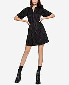 BCBGeneration Mock-Neck Pinstriped Dress