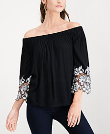 I.N.C. Lace-Cuff Off-The-Shoulder Top, Created for Macy's