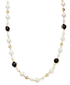"Charter Club Gold-Tone Pavé, Imitation Pearl & Bead Strand Necklace, 42"" + 2"" extender, Created for Macy's"