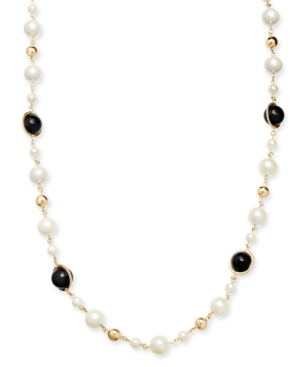 UPC 636206336591 product image for Charter Club Gold-Tone Pave, Imitation Pearl & Bead Strand Necklace, 42
