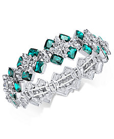 Charter Club Silver-Tone Emerald Crystal Stretch Bracelet, Created for Macy's