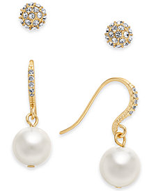 Charter Club Gold-Tone Imitation Pearl and Crystal Pavé Earring Set, Created for Macy's