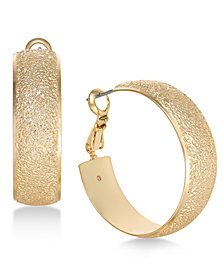 "Charter Club Medium Gold-Tone Wide Textured Hoop Earrings, 1.2"", Created for Macy's"