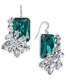 Charter Club Silver Tone Emerald Crystal Stone Drop Earrings Created For Macy S