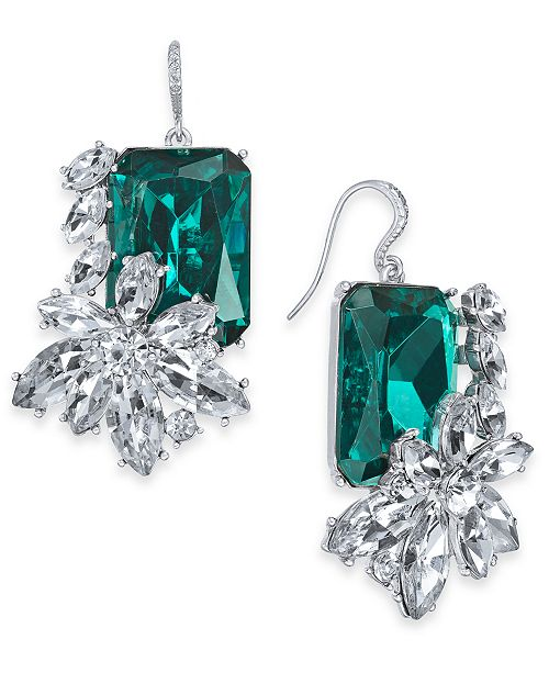 Charter Club Silver-Tone Emerald Crystal & Stone Drop Earrings, Created for Macy's