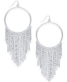 "Thalia Sodi Extra Large Silver-Tone Chain Fringe Drop Hoop Earrings, 5"", Created for Macy's"