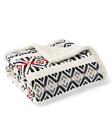 Mountain Village Printed Sherpa Throw