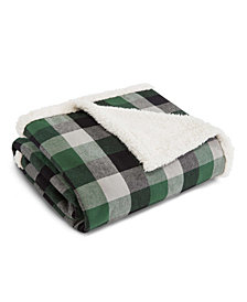 Eddie Bauer Finley Plaid Dark Pine Flannel Sherpa Throw