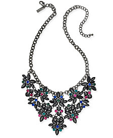 "I.N.C. Hematite-Tone Floral Crystal Necklace, 18"" + 3"" extender, Created for Macy's"