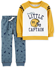 Carter's Toddler Boys 2-Pc. Cotton Little Captain Sweatshirt & Camo-Print Jogger Pants Set