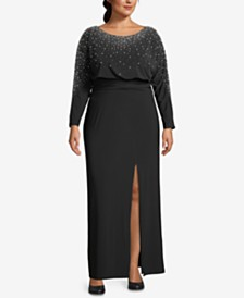 Betsy & Adam Plus Size Embellished Gown