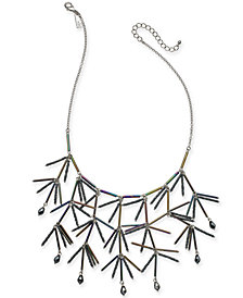 """I.N.C. Silver-Tone Iridescent Bead Statement Necklace, 18"""" + 3"""" extender, Created for Macy's"""