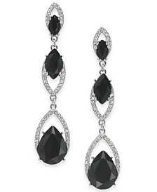 I.N.C. Crystal Double Drop Linear Earrings, Created for Macy's