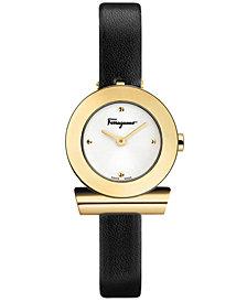 Ferragamo Women's Swiss Gancino Black Leather Strap Watch 22mm