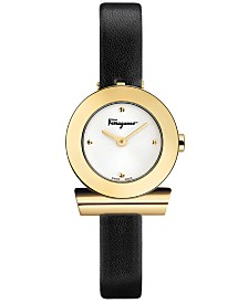Ferragamo Women's Swiss Gancino Black Leather Strap Watch 22mm