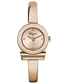 Ferragamo Women's Swiss Gancino Rose Gold-Tone Stainless Steel Half-Bangle Bracelet Watch 22mm