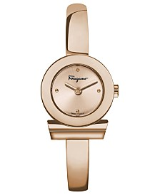 Ferragamo Women's Swiss Gancino Rose Gold-Tone Stainless Steel Half-Bangle Bracelet Watch 22mm