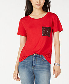 Crave Fame Juniors' Imitation Pearl-Pocket T-Shirt