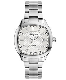 Ferragamo Men's Swiss Automatic Time Stainless Steel Bracelet Watch 41x41mm