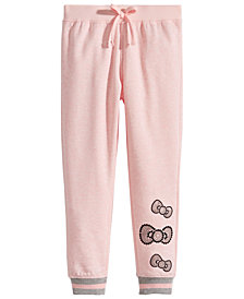 Hello Kitty Little Girls Sequin Bow Fleece Jogger Pants