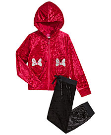 Disney Little Girls 2-Pc. Minnie Mouse Crushed-Velvet Hoodie & Pants Set