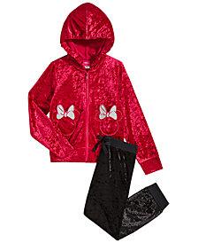 Disney Little Girls 2-Pc. Minnie Mouse Crushed-Velvet Hoodie & Pants Set