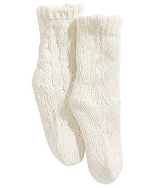 Trimfit Little & Bigs Girls Cable-Knit Slipper Socks