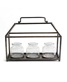 Stratton Home Decor Metal House with Glass Vase Centerpiece