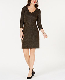 Connected Petite Metallic Sheath Dress