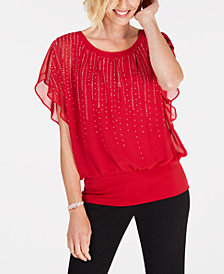 JM Collection Petite Jewel-Embellished Top, Created for Macy's