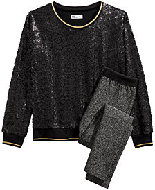 Epic Threads Big Girls Sequin Sweatshirt & Metallic Leggings, Created for Macy's