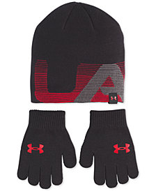 Under Armour Big Boys 2-Pc. Beanie Hat & Gloves Set