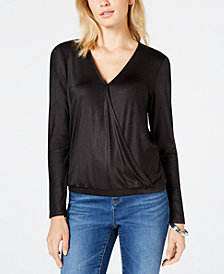 I.N.C. Petite Surplice-Neck Banded-Hem Top, Created for Macy's