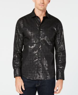 Men's Black Shimmer Shirt Dress