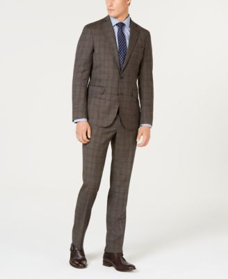Men's Grand OS Slim-Fit Wearable Technology Plaid Suit Pants