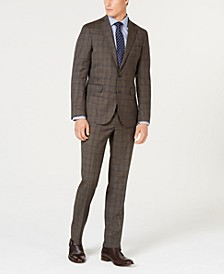 Men's Grand OS Slim-Fit Wearable Technology Plaid Suit Separates