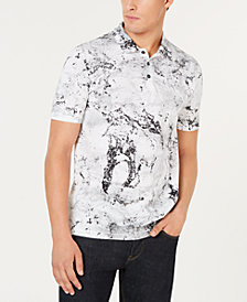 HUGO Men's Slim-Fit Marble-Print Piqué Polo