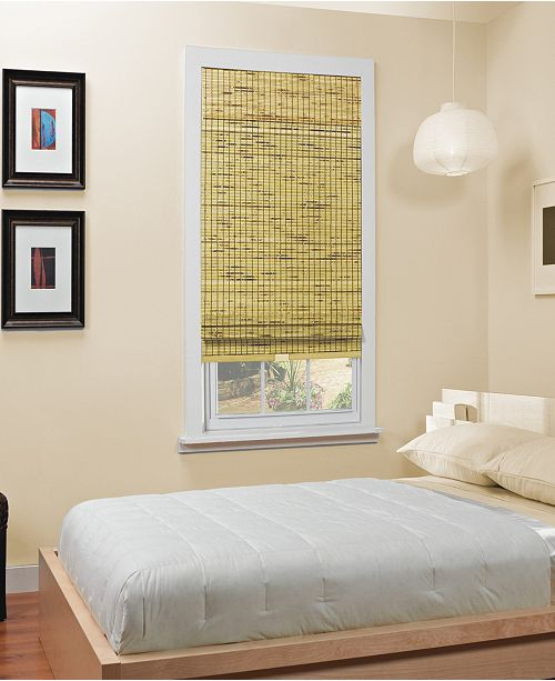 "Home Basics Cordless Burnout Bamboo Roman Shade, 48""x64"""