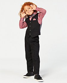 Nautica Little Boys 4-Pc. Textured Vest, Check-Print Shirt, Pants & Bowtie Set