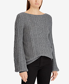 Lauren Ralph Lauren Cable-Knit Puffed-Sleeve Sweater