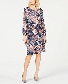 Monteau Petite Printed Long-Sleeve A-Line Dress