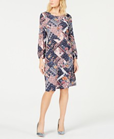 Monteau Petite Printed Long-Sleeve A-Line Dress