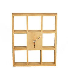 Mind Reader Wall Shelf Clock for Kitchen, Bedroom, Bathroom, Office Use, Brown