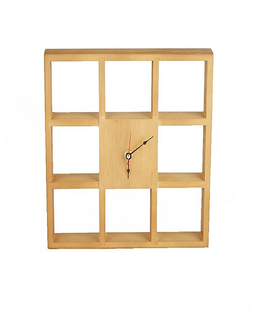Mind Reader Wall Shelf Clock for Kitchen, Bedroom, Bathroom, Office Use, Brown