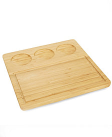 Mind Reader Bamboo Serving Tray Plate with 3 Round Ceramic Bowls, Brown