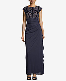 Betsy & Adam Petite Ruched Lace-Bodice Gown
