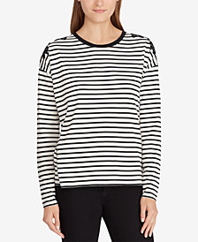 Lauren Ralph Lauren Striped Floral-Appliqué Top